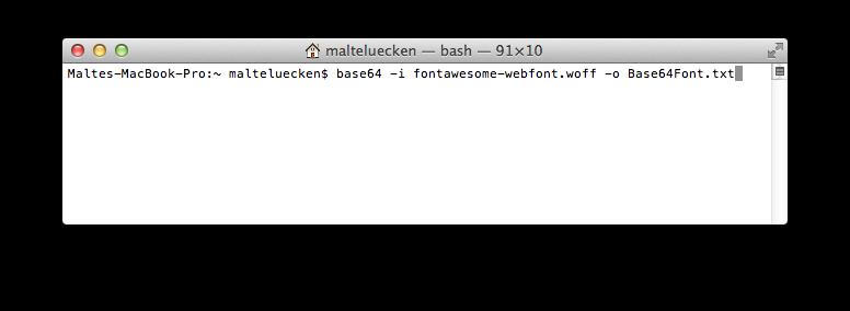 WOFF-Datei über das Terminal in Base64 umwandeln