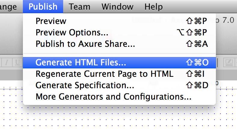 Publish - Generate HTML Files...